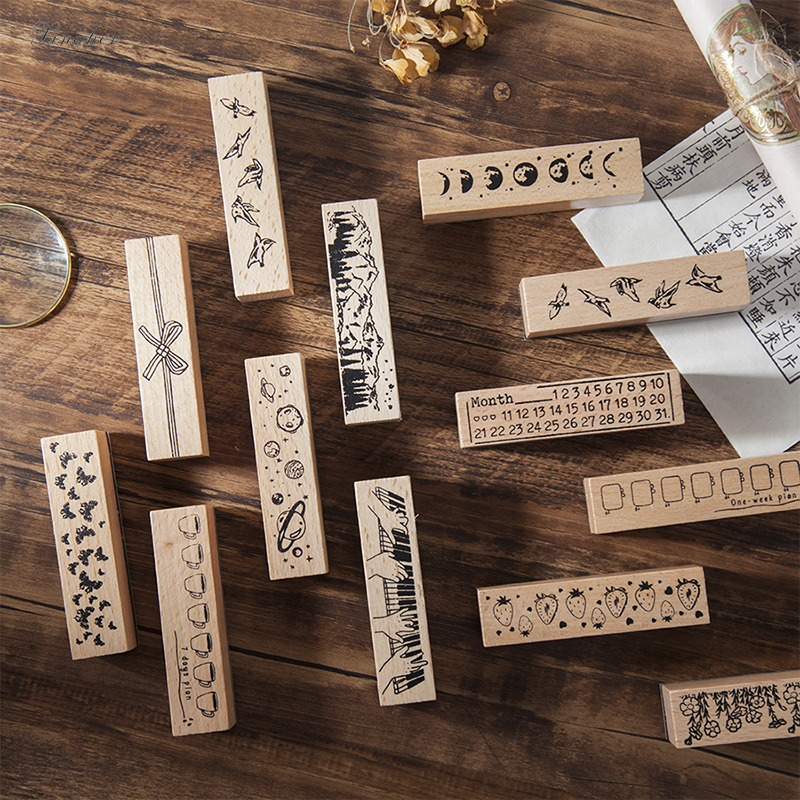 Vintage Moon Planet Flowers Month Plan Decoration Stamp Wooden Rubber Stamps For Scrapbooking Stationery DIY Craft Standard