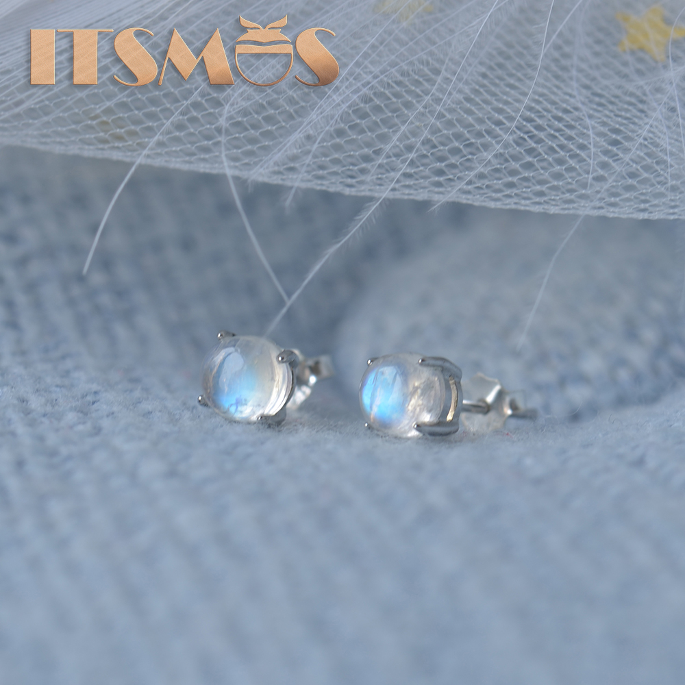 ITSMOS Natural Moonstone Earrings Blue Moonlight Stone S925 Silver Studs For Women Romantic Delicate Jewelry Gift