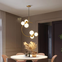 LED Chandelier Creative Bedroom Bedside Hanging Light Glass Ball Modern Nordic Restaurant Bar Coffee Simple Gold Pendant Lamp