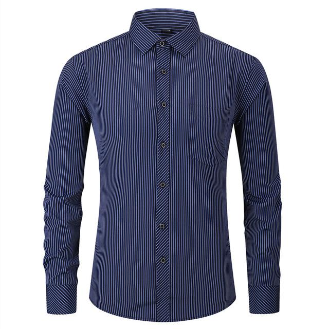 Classic Striped Men's Long Sleeve Casual Shirt Male Social Slim Fit Business Dress Shirt Plus Size 4XL 5XL 6XL 7XL 8XL