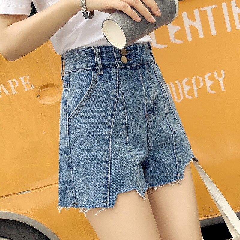 Купить женские джинсовые шорты с высокой талией широкие небесно голубого