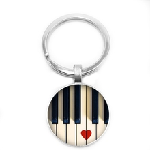 2019 New Music Note Key Ring I Love Piano Keychain 25mm Glass Cabochon Lovers Gift Jewelry