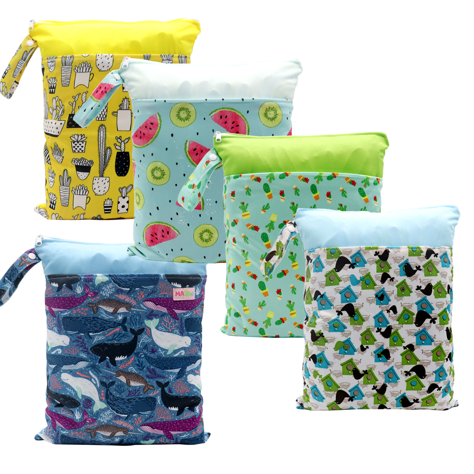 MABOJ Baby Diaper Bags Reusable Waterproof Fashion Prints Wet Dry Diaper Bag Double Pocket Cloth Handle Wetbags 30*40cm