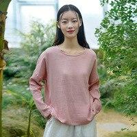Johnature-camisetas informales de algodón para mujer, camisas de manga larga con cuello redondo, Color sólido, sueltas, estilo coreano, primavera 2021