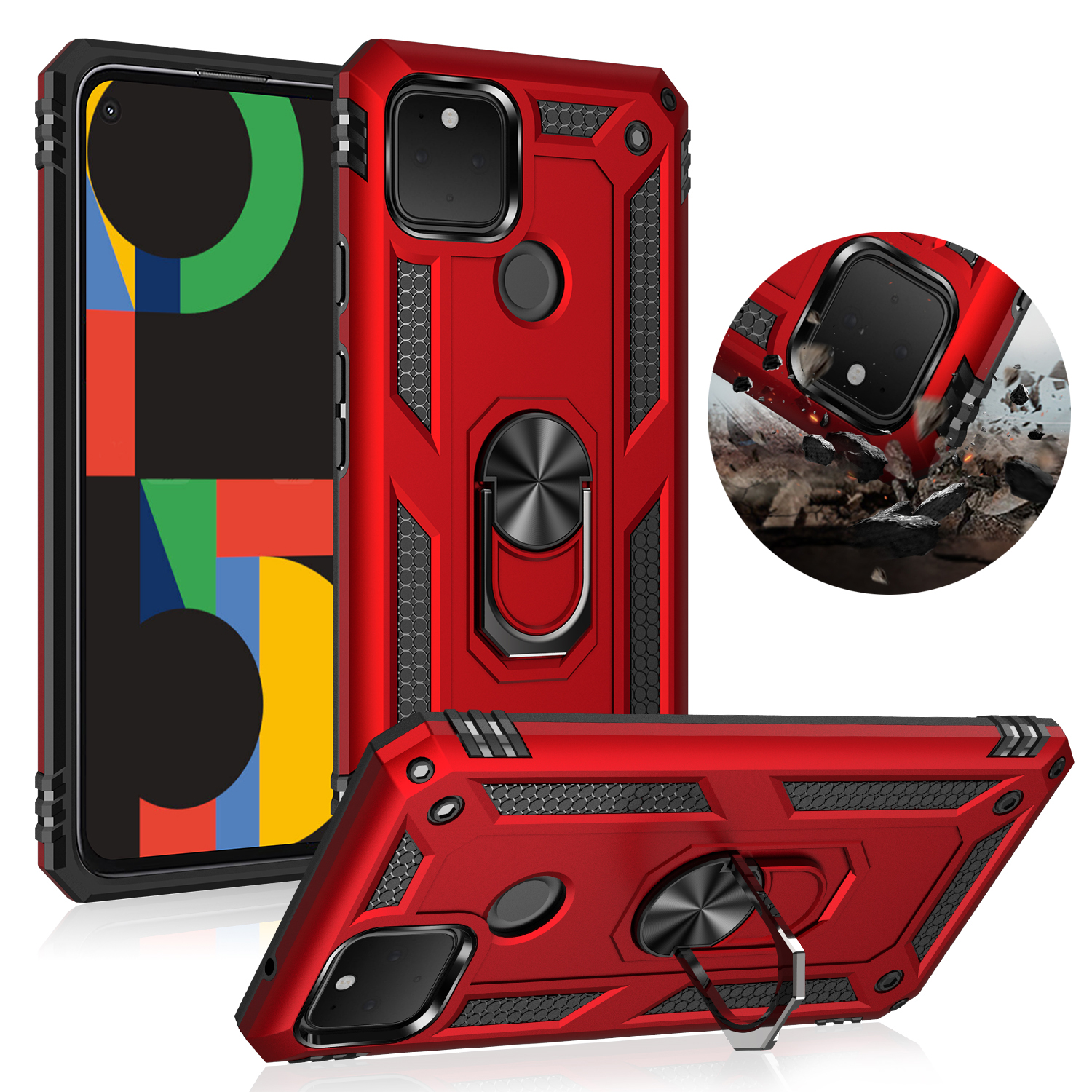 Armor Bumper Shockproof Case For Google Pixel 5 4A 4 XL 3A 3A XL Phone Case Finger Ring Kickstand Protective Cover For Google 5