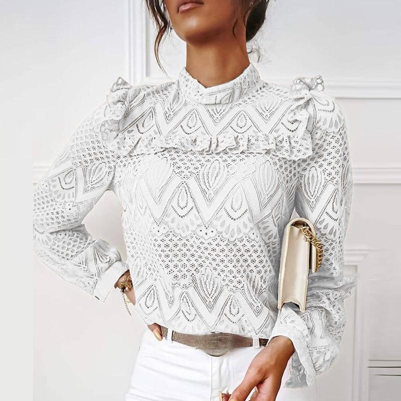 hirigin Autumn Elegant Lace Women Blouses Shirt Ruffles Long Sleeve Shirts Tops Office Lady Vintage O Neck Hollow Out Blusas 4