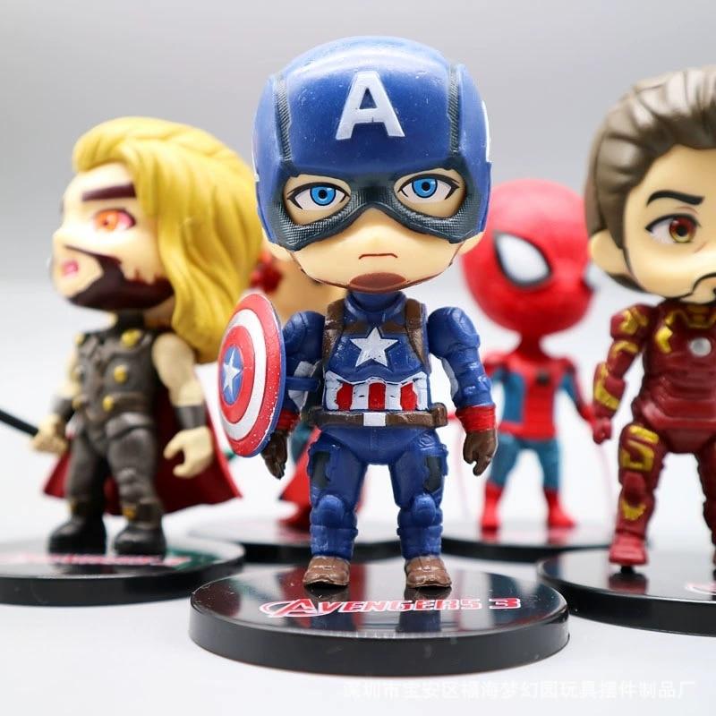 Jouets poupée figurine de 10cm, version Marvel Q Avengers, personnages d'anime, Spiderman, jouet Captain America, modèles décoratifs, cadeaux