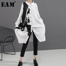 EAM-vestido holgado de manga larga con solapa nueva para primavera y otoño, traje holgado con estampado blanco y negro, talla grande, 2021, 1A923