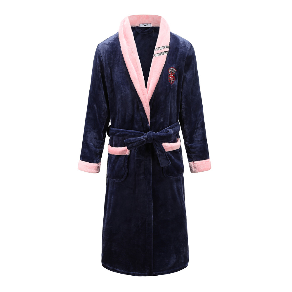 Full Sleeve Sleepwear Nightgown Sweetcouple Coral Fleece Kimono Bathrobe Gown Navy Blue Home Dressing Gown Intimate Lingerie
