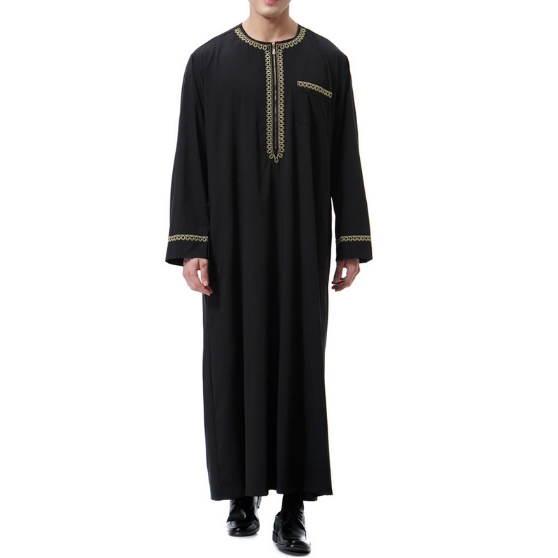 Men's Fashion Muslim Islamic Arab Kaftan Robes 2019 New Mens Cotton O-Neck Long Sleeve Print Dubai Saudi Arab Jubba Thobes