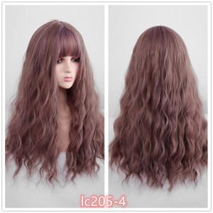 Image 5 - Pequena lana ombre loira preto marrom cosplay lolita perucas com franja longo ondulado peruca de cabelo sintético para as mulheres fibra de alta temperatura