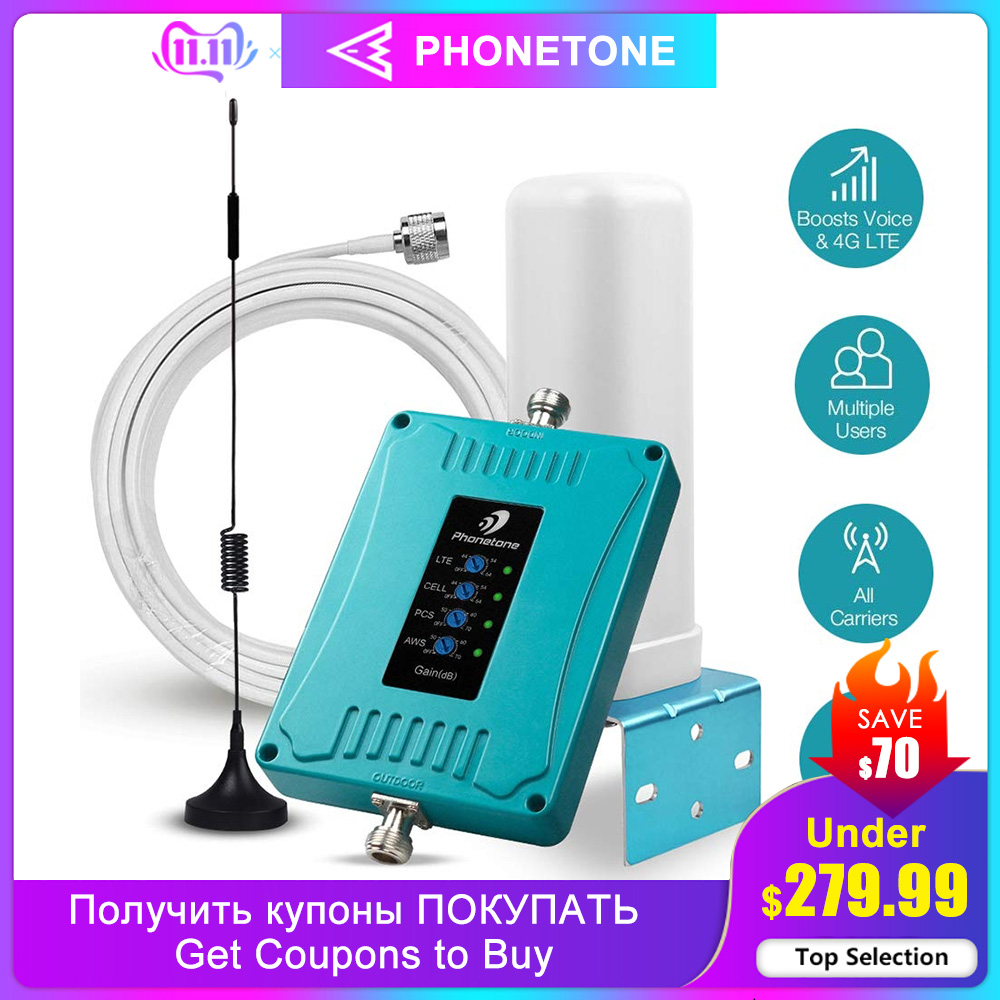 2G 3G 4G Cell Phone Signal Booster For US/CA Phone Signal Boosters 5 Band 700/850/1700/1900MHz GSM LTE Repeater For Voice/Data