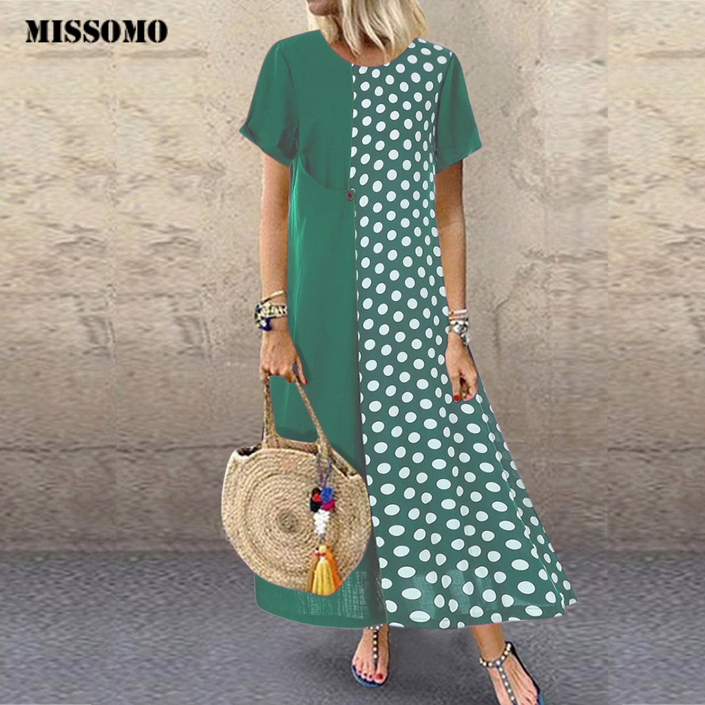 MISSOMO Plus Size 5XL dress Women vestidos Cotton and Linen Dot Print long Wave Maxi Dress women Casual Dresses Wholesale 730