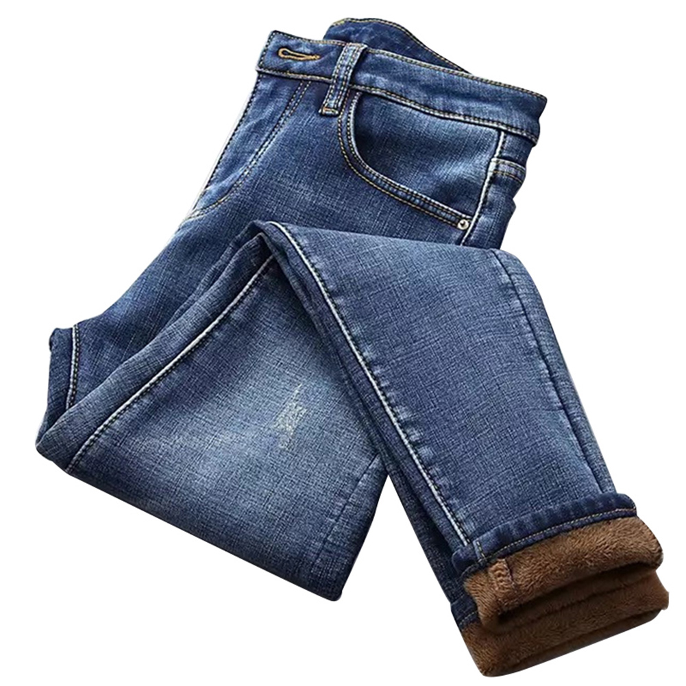 Women High Waist Thermal Jeans Fleece Lined Denim Pants Stretchy Trousers Skinny Pants  DIN889