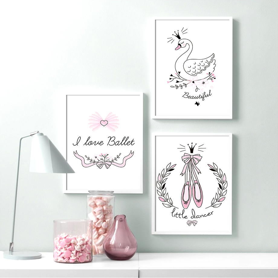 Dance Shoes Crown Princess Swan Cartoon Wall Art Canvas Painting Nordic Posters And Prints Pictures Baby Kids Room Decor