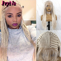 IvyNa Platinum Blonde Micro Braided Lace Front Wigs Synthetic Hair Box 13x6 Synthetic Lace Front Wigs with Baby Hair Pre Plucked