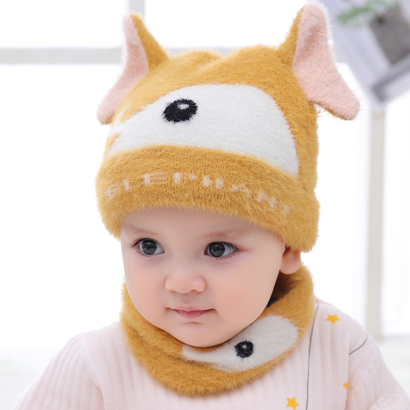 Children Knitted Hat Scarf Set Cute Cartoon Elephant Thick Warm Winter Girls Boys Baby Head Cap