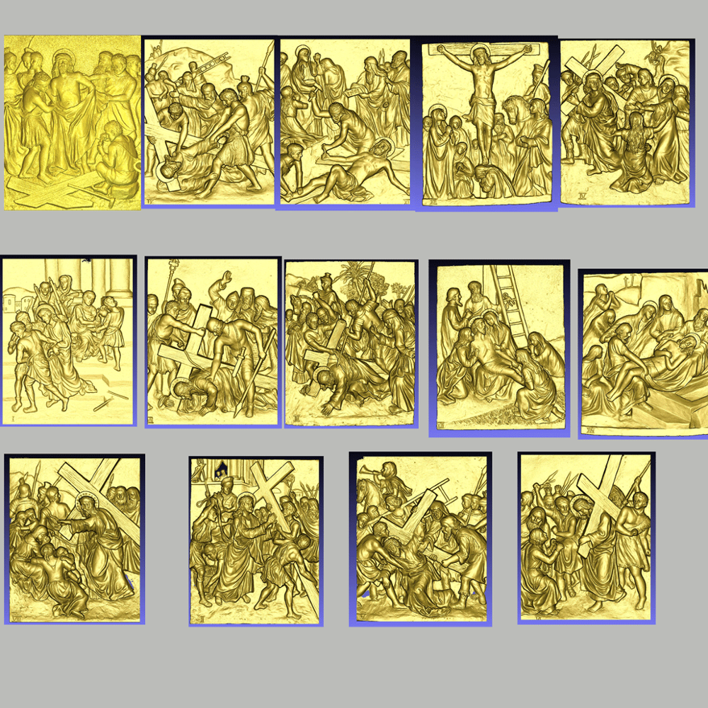 14 Pieces Of Bible Stories STL 3D Deep Relief Files Christian Style CNC Milling Engraving Design Pattern Files