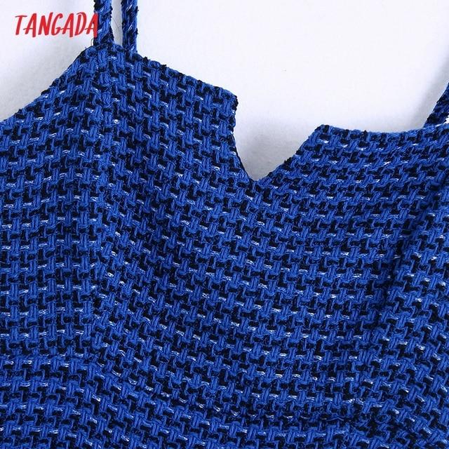 Tangada Women Spaghetti Strap Blue Texture Tweed Slim Mini Dress Female Chic Back Zipper Hem Split Party Dress BE63 2