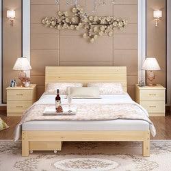 Proste drewniane łóżko 1.8 M główna sypialnia łóżko podwójne łóżko nowoczesne 1.5m wynajmu samochodów łóżko ekonomiczną prostota łóżko pojedyncze na