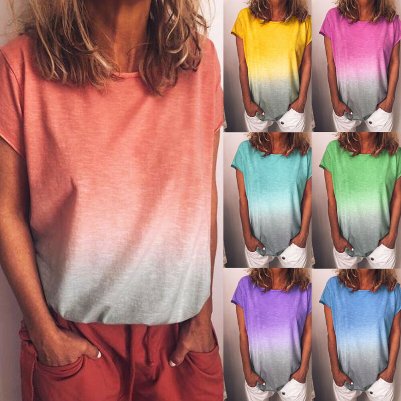 Plus Size Women Boho Lady Rainbow Gradient Short Sleeve T Shirt Tee Tops Summer Beach Casual Loose Cotton Ladies Top Gradient