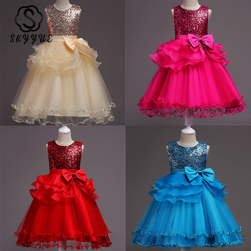 Skyyue Girl Pageant Dress Red Purple Blue Tulle Flower Girl's Dresses For Wedding O-neck Bow Sequin Communion Gowns 2019 812