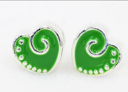ขายส่งจำนวนมาก 1000 PCS สีเขียวหัวใจ Charms Big Hole ลูกปัดสร้อยข้อมือและสร้อยคอ