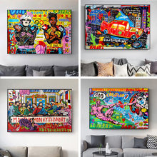 Graffiti The Last Supper Car Street Art Canvas Print Painting Abstract Figure Wall Picture Living Room Home Decoration Poster