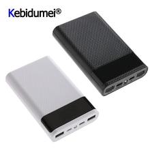 QC 3,0 caja de almacenamiento de batería para teléfono móvil, Cargador USB tipo C Dual de carga rápida, 4x18650, 15000mAh, sin batería