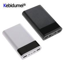 QC 3.0 hızlı şarj çift USB C tipi taşınabilir güç kaynağı kılıfı DIY 4x18650 cep telefonu 15000mAh pil saklama kutusu olmadan pil