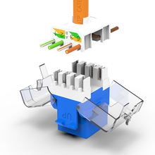 AMPCOM 10-Pack Keystone Jack,  CAT6 Tool-Less RJ45 UTP Keystone Jack, No Punch-Down Tool Required Module Coupler – Blue
