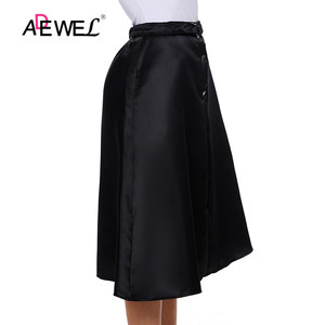 Image 3 - ADEWEL Lady Elegant Retro Style Buttons Front Flared Midi Skirt Black Skirts Womens Buttons Hot A Line Cute Skirts