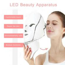 7 Color LED Face Neck Mask Photon Skin Rejuvenation Therapy LED Facial Mask Infrared Light Whiten Repair Skin Acne Removal Mask heating light machine for face messager acne spot skin rejuvenation light photon led therapy bacteria killing removal improve