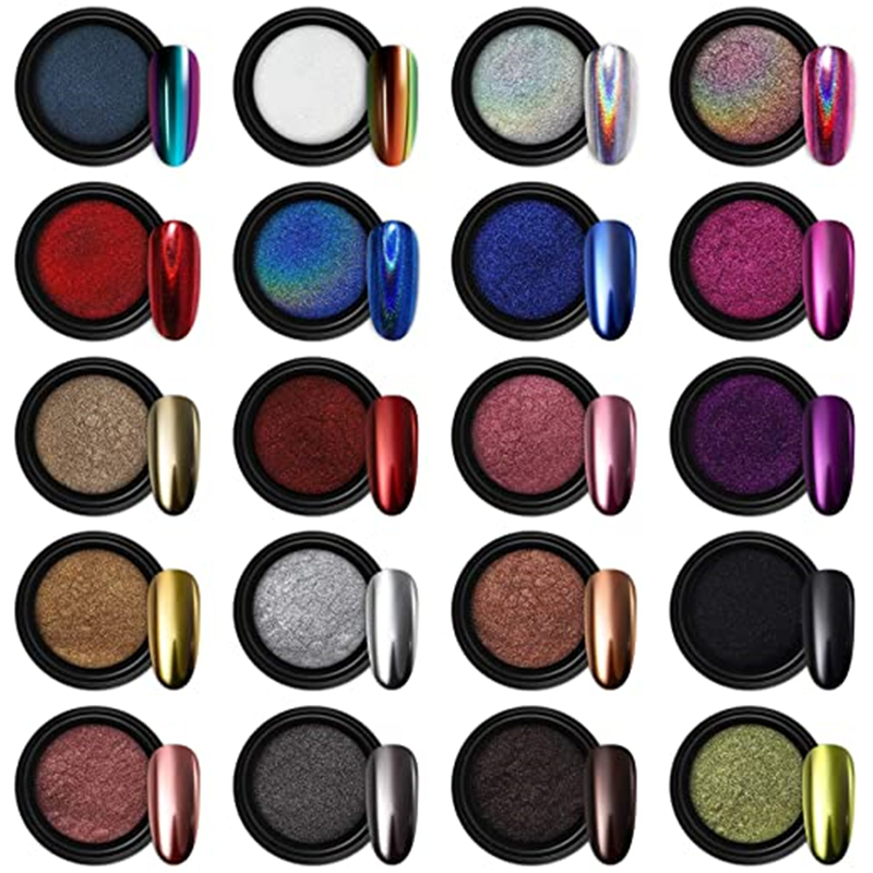 Nail Powder 24 Color Holographic Chrome Mirror Laser Synthetic Resin Pigment Manicure Art Eye Mirror Nail