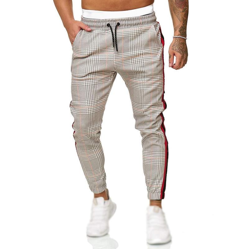 Men's Pants Fashion Midde Waist Sports Trousers Pencil Pants Tights Casual Plus Size Vintage Retro Plaid Pants