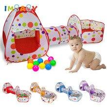 IMBABY 3 In 1 Große Kinder Zelt Haus Baby Pool Rohr Tipi Laufstall Kinder Ozean Ball Pool Pit Faltbare Baby krabbeln Spiel Haus