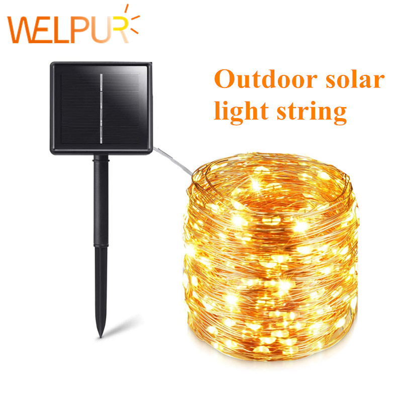 Solarne lampki LED, wodoodporna girlanda na sznurku, 12m-100 LED, 5m-50 LED, światełka świąteczne, ozdoba, dekoracja do ogrodu, boże narodzenie