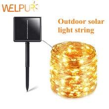 Corda solar luzes de fadas 12m 100led/5m 50 led à prova dwaterproof água ao ar livre guirlanda lâmpada energia solar natal para a decoração do jardim