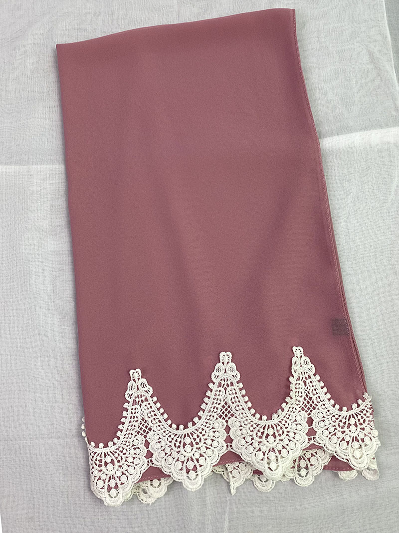 Trendy Plain Bubble Heavy Chiffon Wrap With White Embroidered Lace Solider Color Shawls Headband Muslim Hijabs