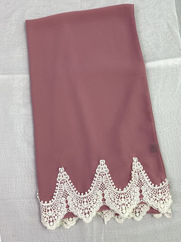 Trendy Plain Bubble Heavy Chiffon Wrap With White Embroidered Lace Solider Color Shawls Headband Muslim
