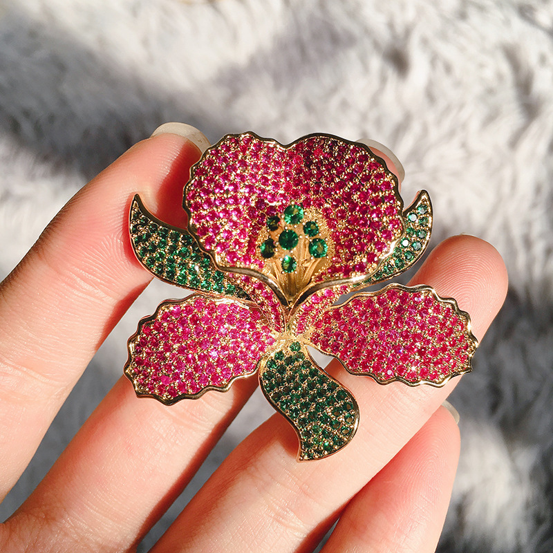 Luxury Rose Flower Crystal Brooch Pins Costume Jewelry Brooches High Quality Full CZ stone Pin Women Scarf Clip Brooches