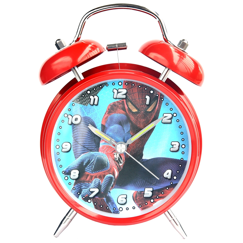 Дисней человек-паук человек-паук аниме дети мальчик прикроватная тумбочка будильник часы без звука звонок креатив простой свет часы