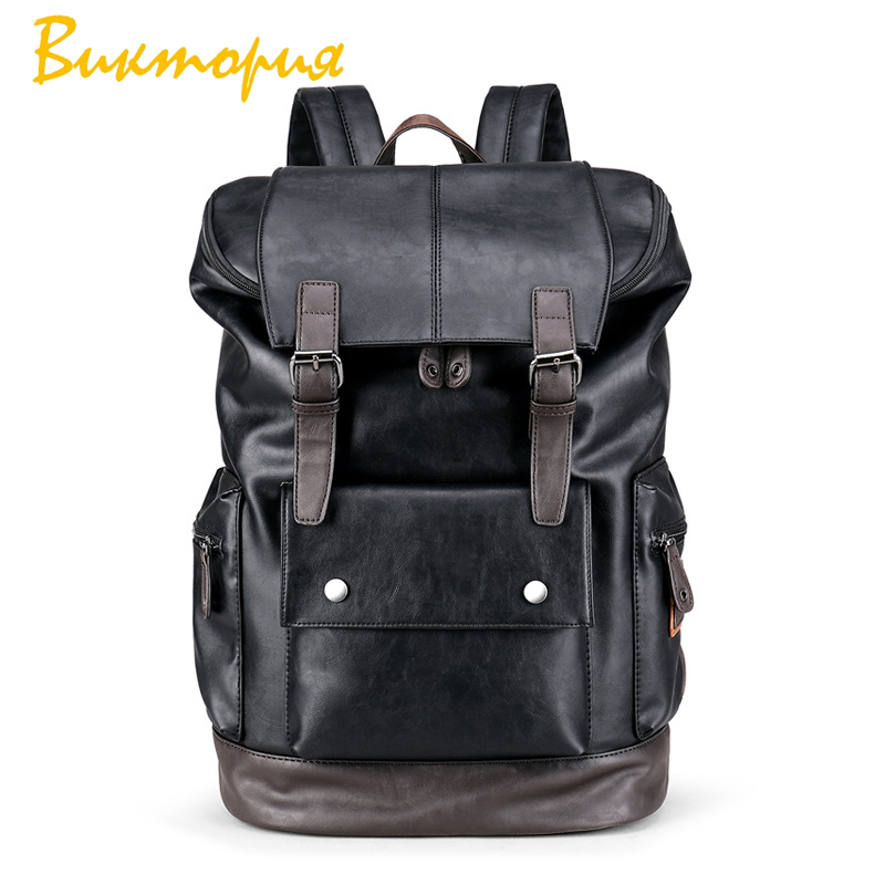 2019 new men 39 s backpack men 39 s leather backpack Skin affinity Wear resisting soft Vintage Style men 39 s backpack school backpack in Backpacks from Luggage amp Bags
