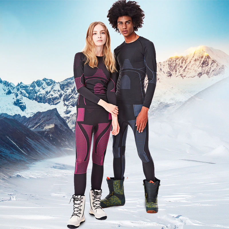 Winter Women's Thermal Underwear Sets T Shirt Pants Men Underwear Suits Sport Skiing Woman Tights Clothes Training Snowboad Set