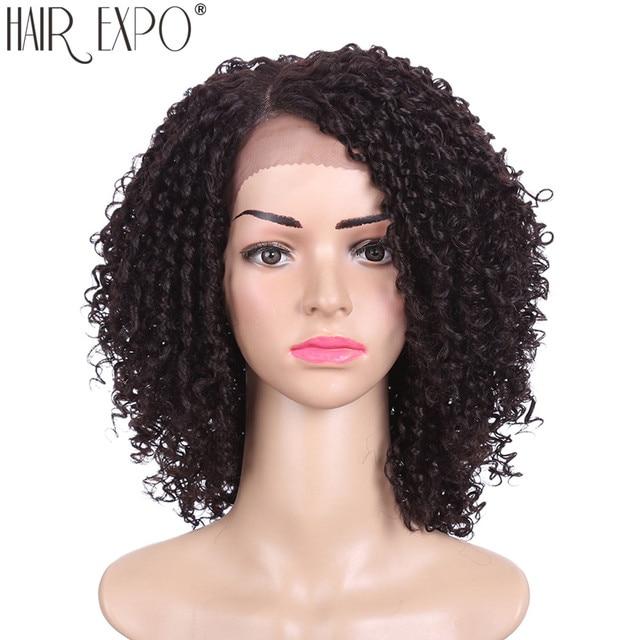 14 אינץ קינקי סינטטי קצר שחור שיער לנשים שחורות תחרה פאות חום Resiatant צד חלק שיער אקספו עיר