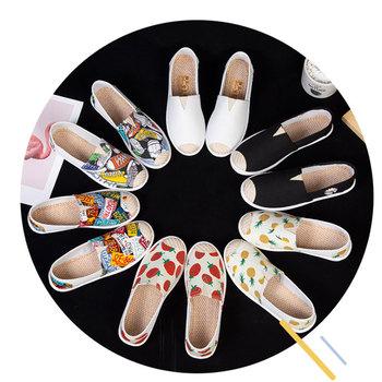 Nowe damskie mokasyny espadryle komfortowe damskie płaskie buty baleriny damskie koreańskie buty damskie klasyczne buty na platformie tanie i dobre opinie dasgaus Płótno RUBBER Slip-on Pasuje prawda na wymiar weź swój normalny rozmiar Na co dzień Fabric Rzym Wiosna jesień
