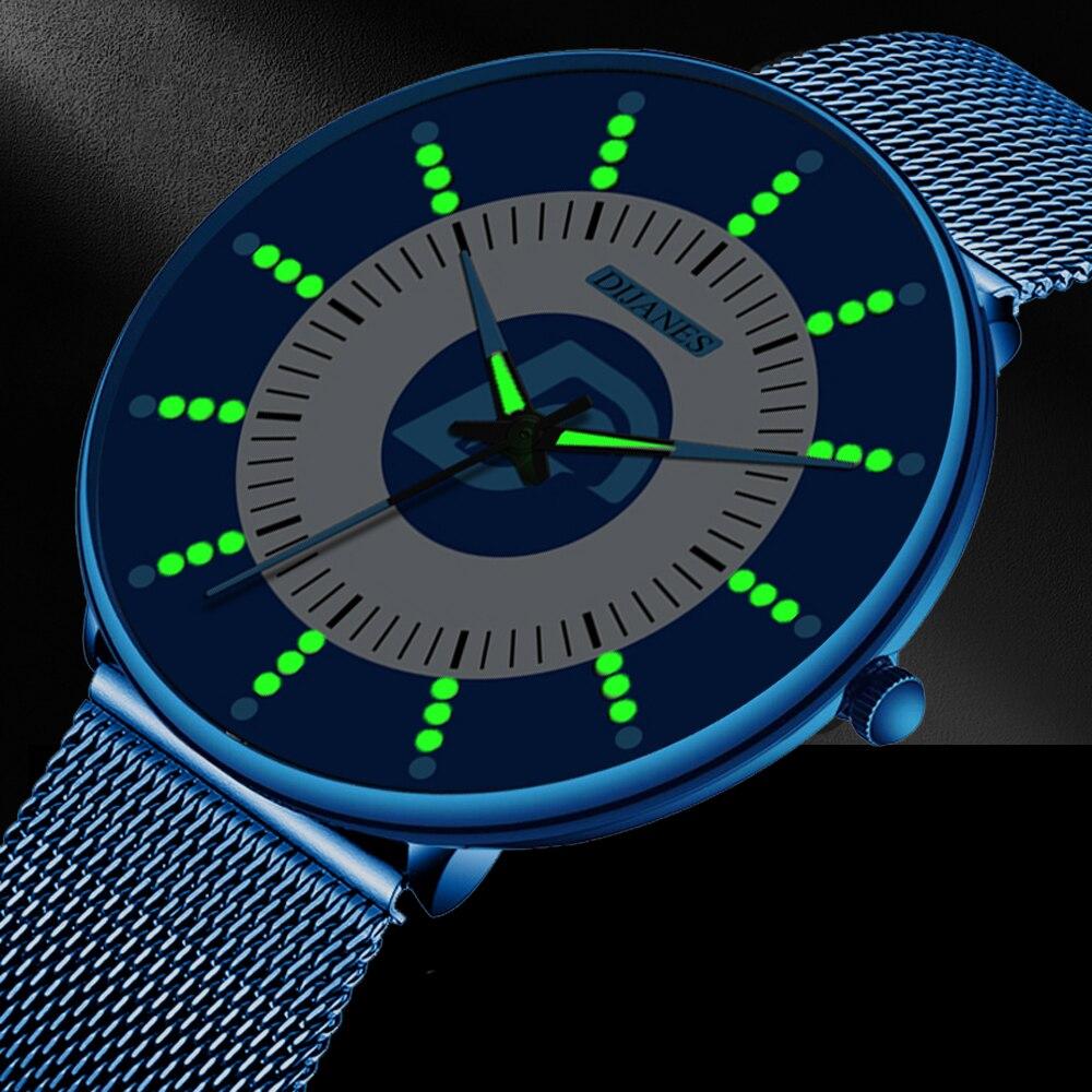 2020 Minimalist Fashion Mens Watch Ultra Thin Business Luminous Classic Stainless Steel Mesh Belt Quartz Watch Relogio Masculino