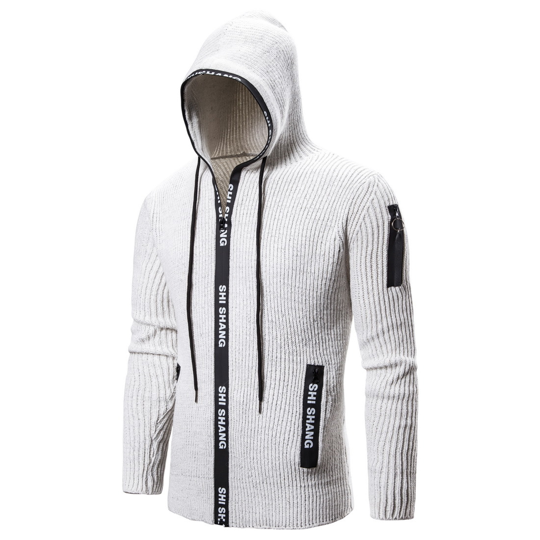 NEGIZBER 2019 Off White Sweater Men Cardigan Solid Slim Fit Zipper Hoody Sweaters Men Fashion Thick Cardigan Men Sweater Coats