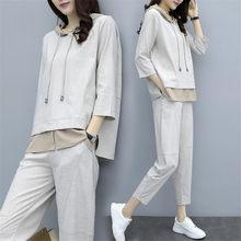 Korean takım elbise gri sonbahar giysileri kadınlar için pamuk keten artı boyutu 2 parça Set kıyafetler eşleşen Hoodies üst pantolon takım elbise kış 2 adet
