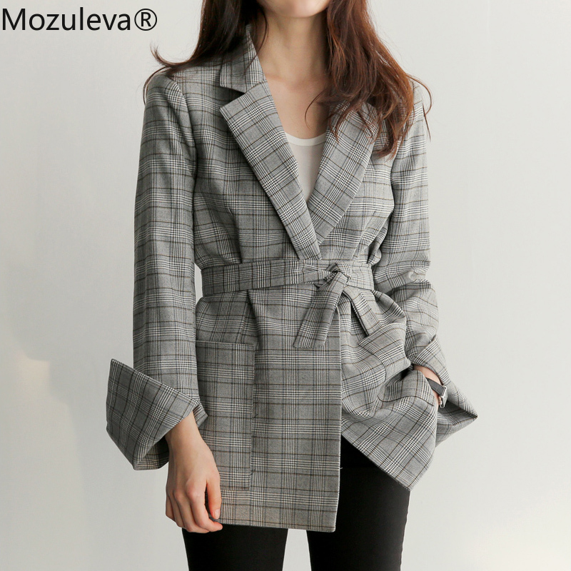 Mozuleva Spring Autumn Women Gray Plaid Office Lady Blazer Fashion Bow Sashes Split Sleeve Jackets Elegant Work Blazers Feminino